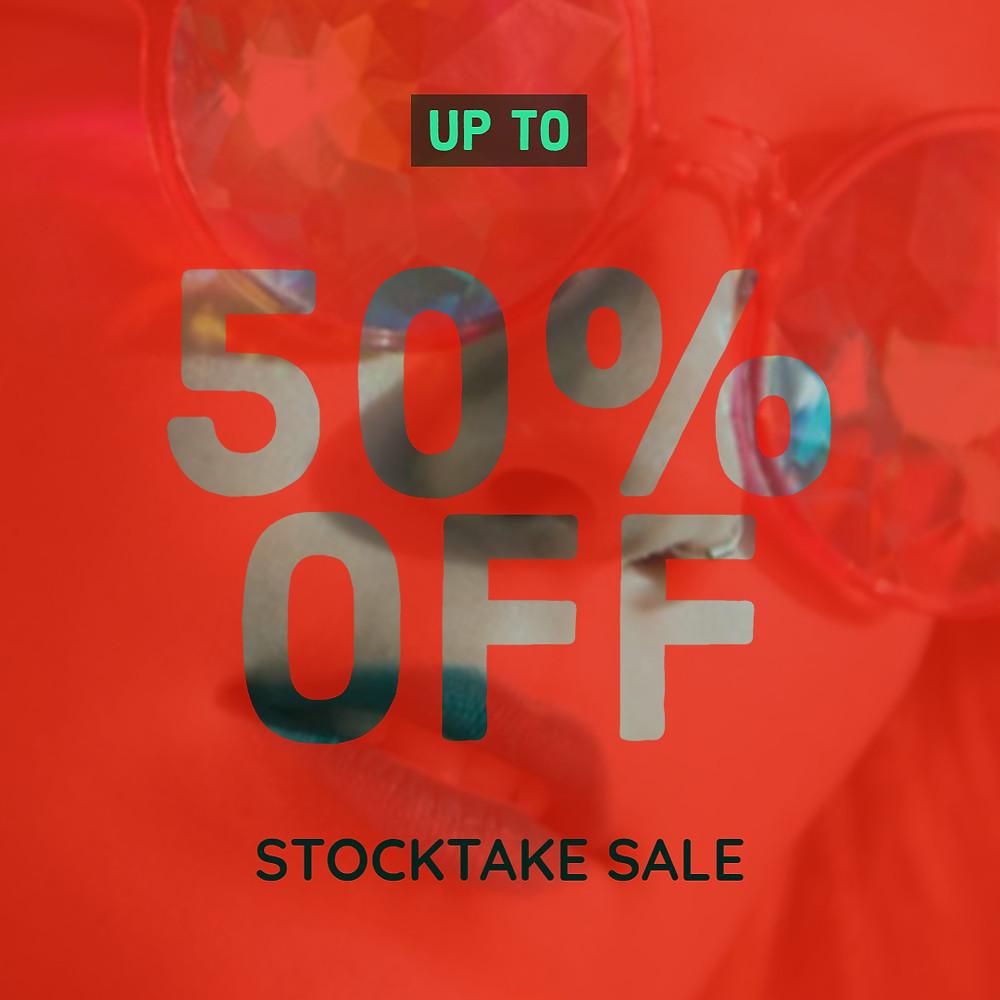 Stocktake sale upto 50% off offer