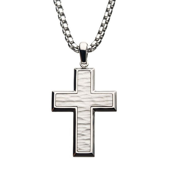 Men's Stainless Steel Hammered Cross Pendant/Necklace