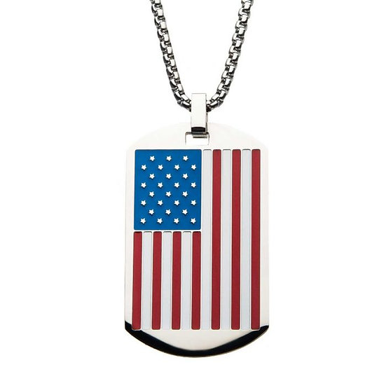 American Flag Enamel Dog Tag Pendant