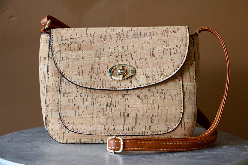 Cork Shoulder Bag with Leather Strap