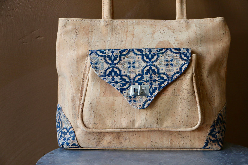 Cork Handbag with Blue Print