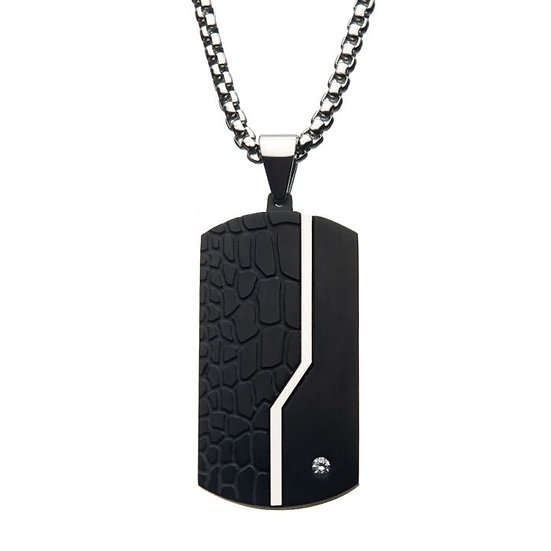Stainless Steel Thin Line Crocodile Dog Tag Pendant