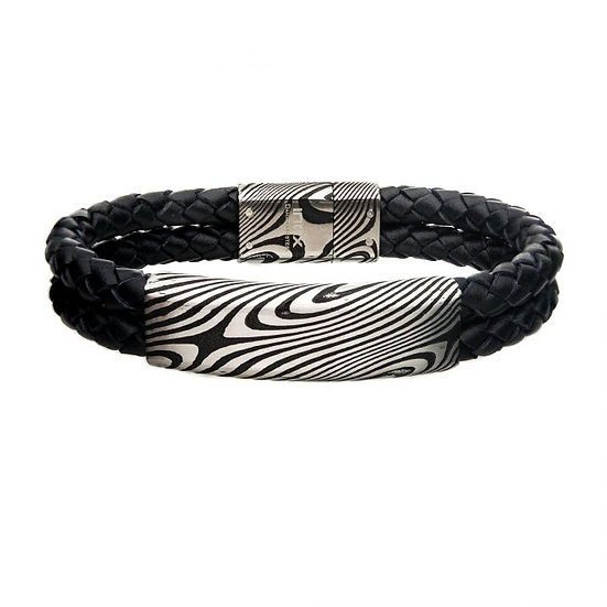 Damascus Steel Black Plated ID with Double Black Leather Bracelet