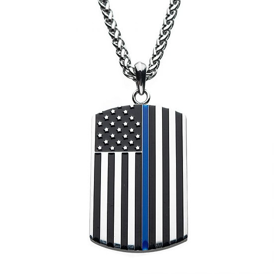 Thin Blue Line American Flag Police Officer Military Style Dog Tag Enamel Pendan