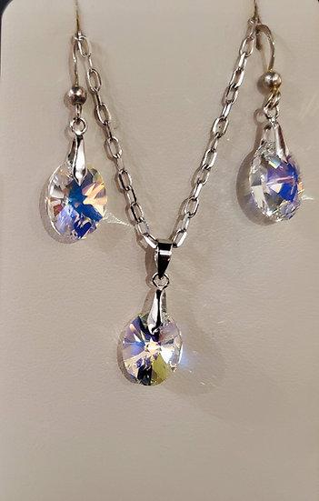 Certified Swarvoski Crystal Earrings & Pendant Necklace