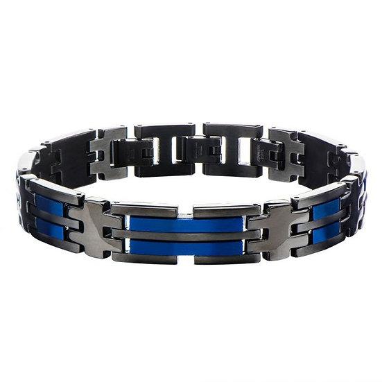 Matte Black & Blue Plated Link Bracelet