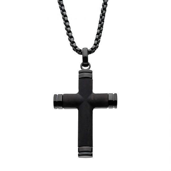 Black Plated Genuine Ebony Wood Inlayed Cross Pendant