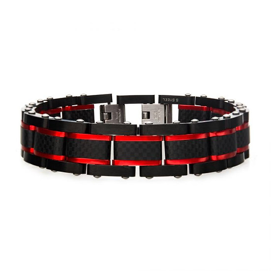 Dante - Black and Red Steel Matte Carbon Fiber and Link Sizeable Bracelet
