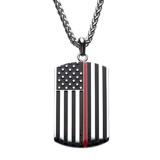 Thin Red Line American Flag Firefighter Military Style Dog Tag Enamel Pendant wi