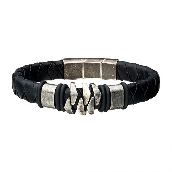 Steel and Gun Metal Black Leather Bohemian Bracelet