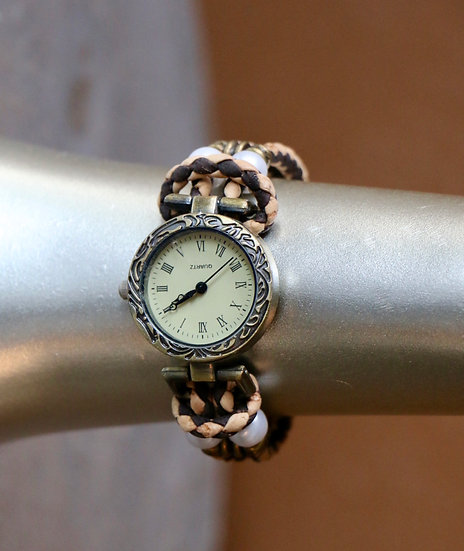Women's Watch with Cork Band