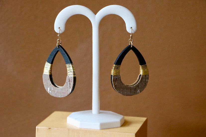 Hoop Dangle Cork Earrings