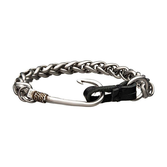 Stainless Steel and Antiqued Finish Hook with Black Leather Chain Bracelet