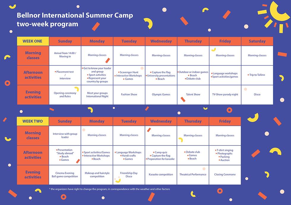 Bellnor Summer Camp Schedule