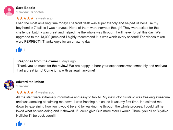Two google reviews of Skydive Hollister