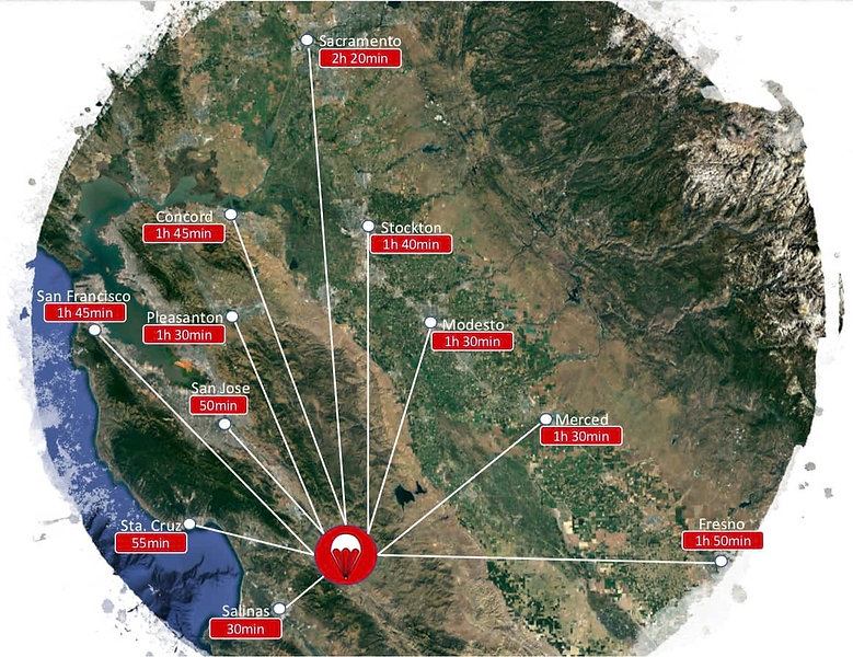 Map-Charting-Distance-To-Skydive-Hollist