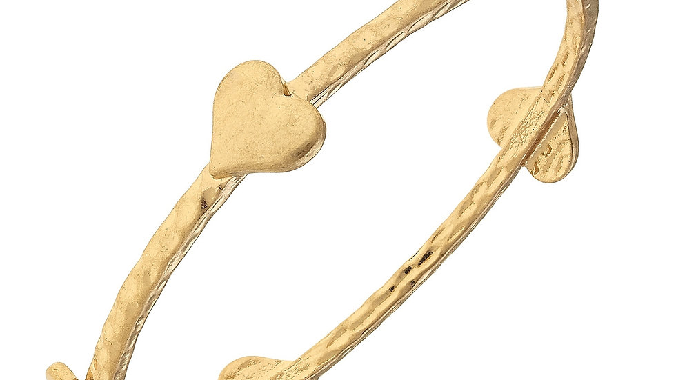 Claudia Heart Bangle in Worn Gold