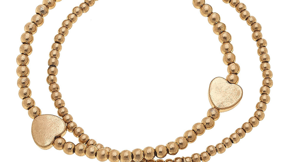 Aria Layered Sphere Bracelets in Worn Gold Hearts (Set of 2)