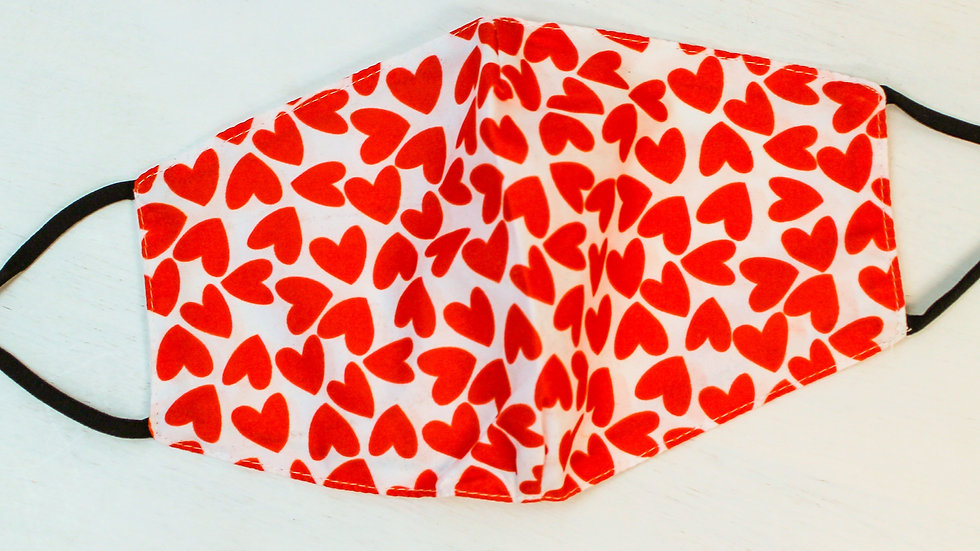 Adult Printed Face Mask - Red Hearts