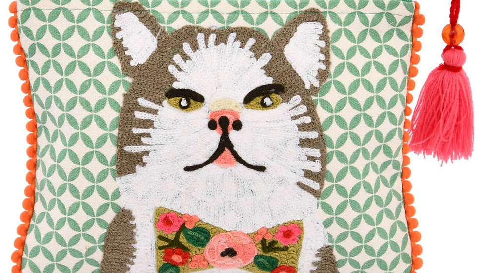 """Cat with Floral Bow Tie Pouch 6 x 8""""D"""