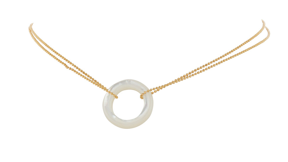 Mother of Pearl Ring Chain Choker