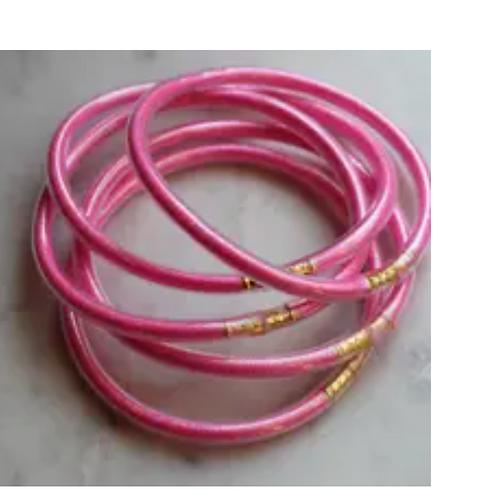 Pink Bangles - Set of 5 - Stackable Bracelets