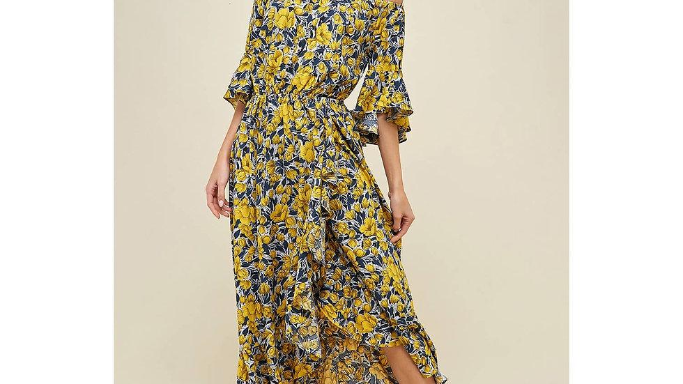 Floral off shoulder ruffle maxi dress