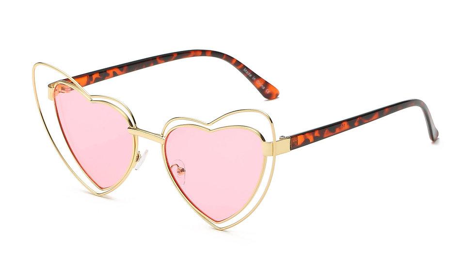 Women Metal Funky Hipster Heart Shape Sunglasses-item# H1