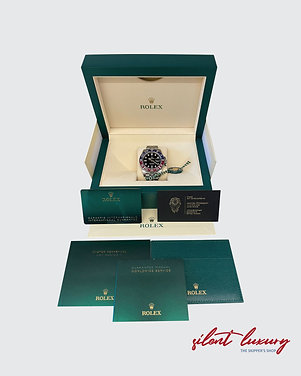 NEW ROLEX GMT MASTER II (Pepsi), Black Dial, Stainless Steel. Ref. 126710BLRO