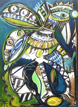 Oiseau d'apparat bleu 120x80