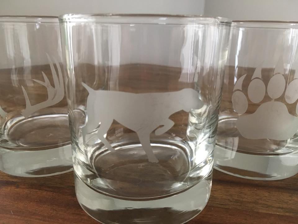 etched whisky glass