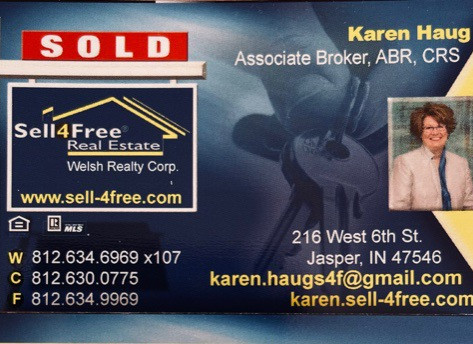 Karen Haug, SELL4FREE WELSH REALTY, Associate Broker, ABR, CRS