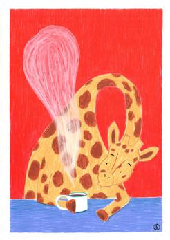 girafe au café