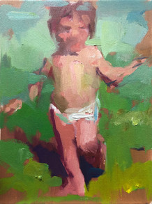 Running Child Study. Green and Pink