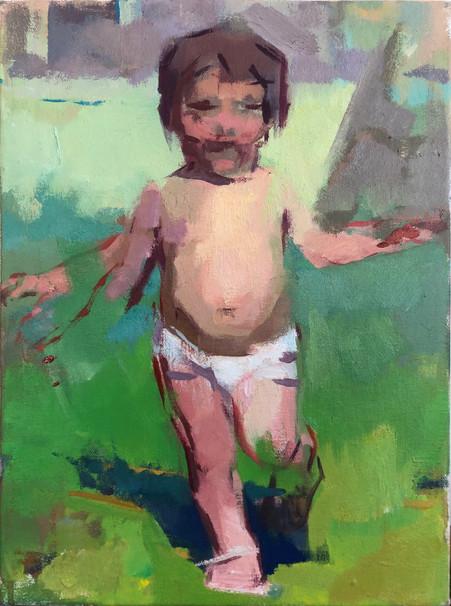 Running Child. Green and Purple