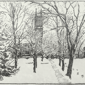 View of St. Paul's - Snowy Day...Looking North from Vergennes Park on VT 22a
