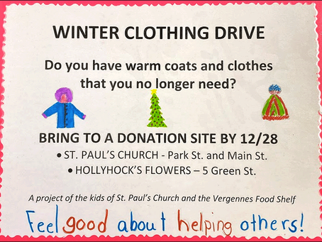 Sunday School Winter Clothing Drive