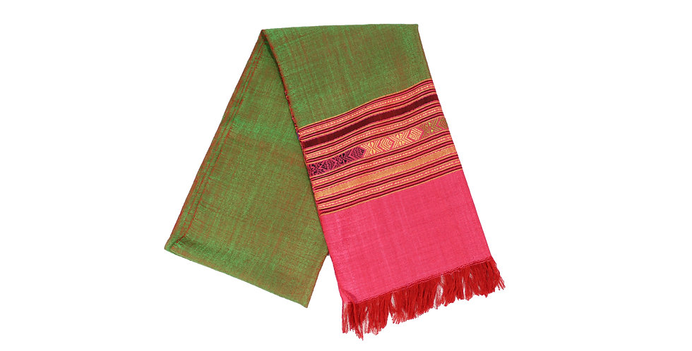 Two-Toned Red and Green with Pink Edges Silk
