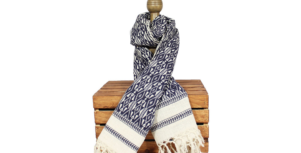 Indigo Cotton Blanket Scarf