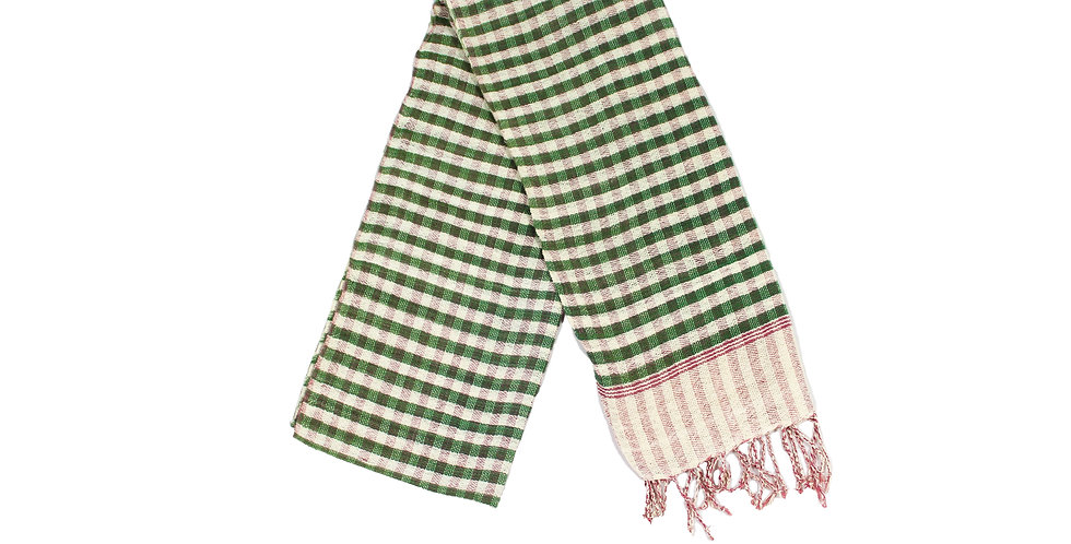 Green and Ivory Checkered Cotton