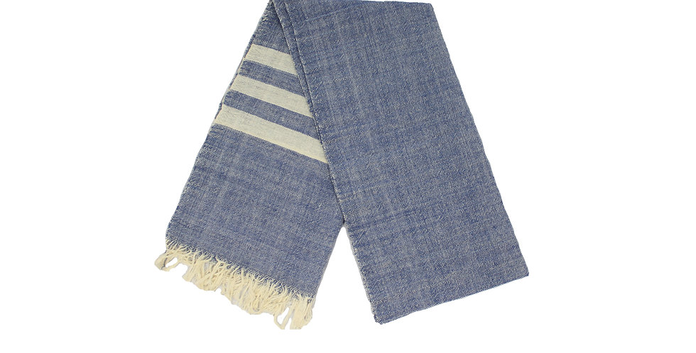 Indigo with Ivory Stripes Cotton