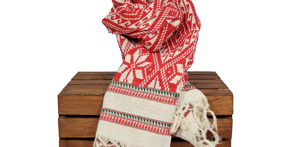 Scarlet Cotton Blanket Scarf with Green Trim