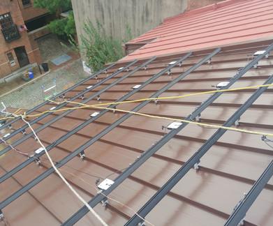 Rowhome solar panel installation beginning