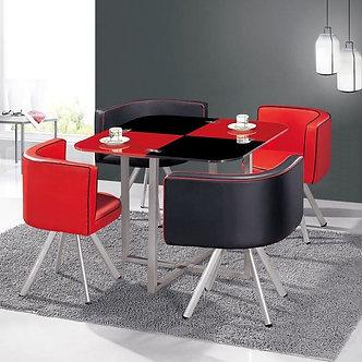 Jgo Comedor 4 Sillas Rojo / Negro