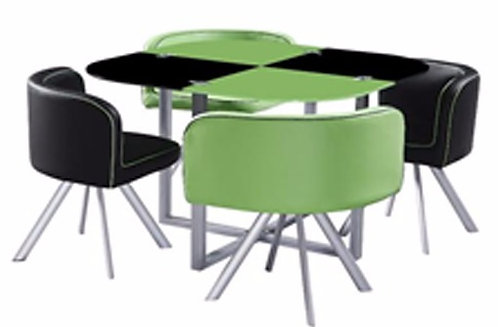 Jgo Comedor 4 Sillas Verde / Negro