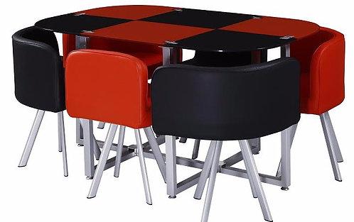 Jgo Comedor 6 Sillas Rojo / Negro
