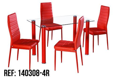 Jgo Comedor 4 Sillas Rojo