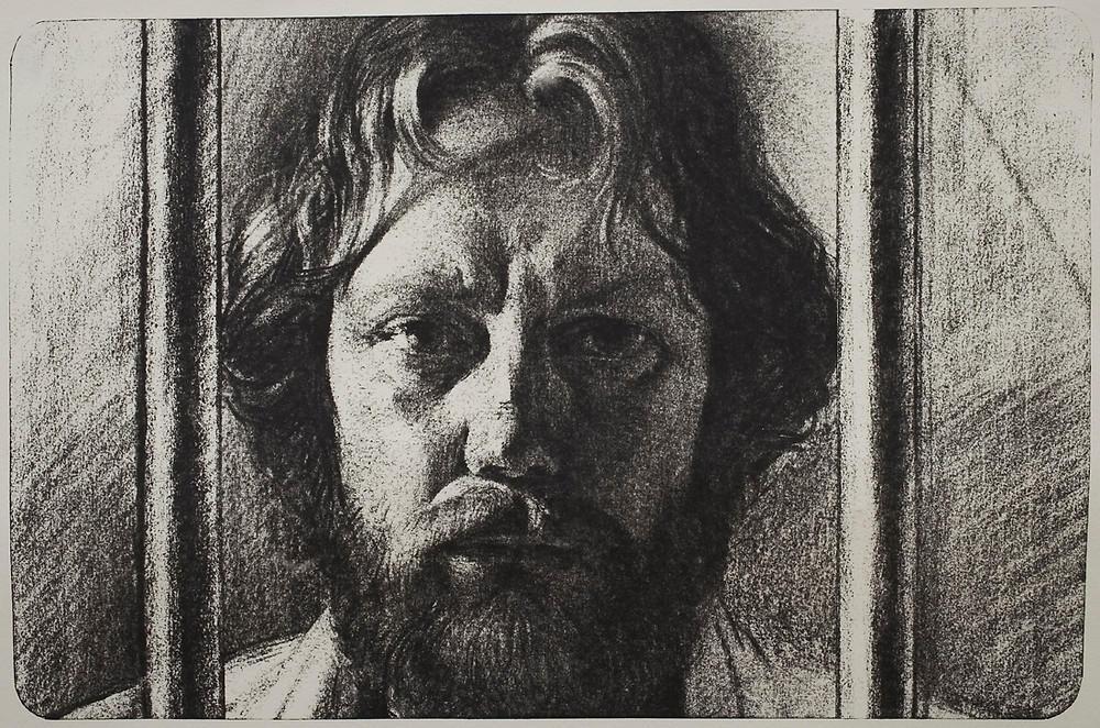 """Self portrait. From """"An Artist in Exile: The Viloshin Letters"""" (1992)"""