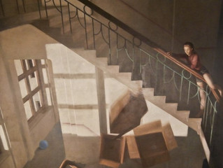 "Great opportunity! A Jan Valentin Saether painting, ""Falling Boxes"" (1989), for sale at Gr"
