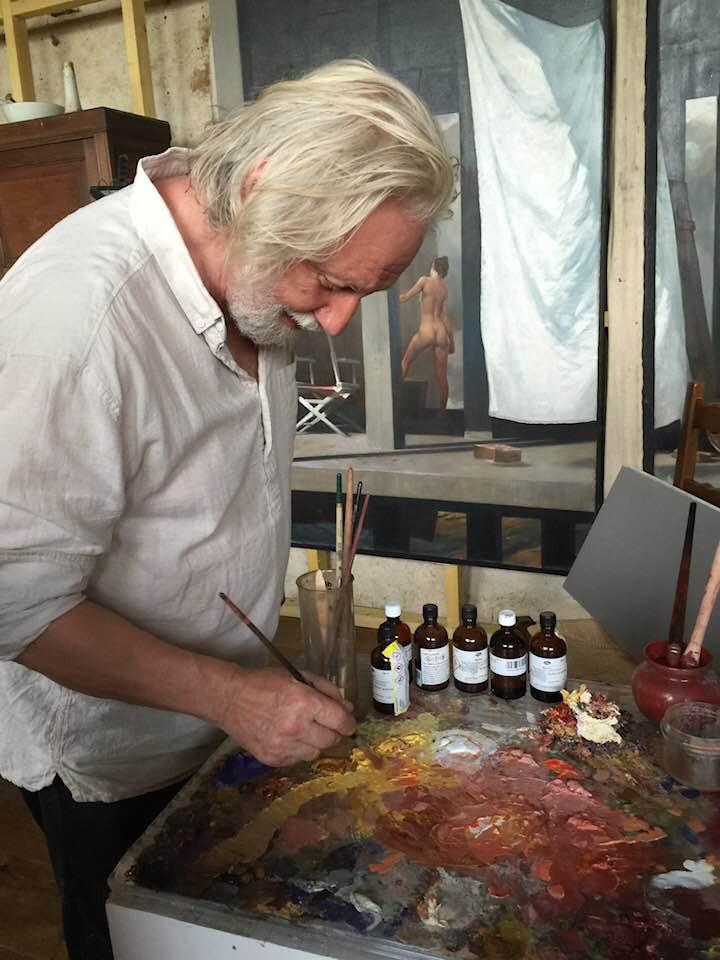 Jan painting in his studio in France